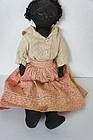 Small antique black cloth doll with great little body 12""