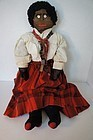 "26"" Black stockinette doll with button eyes  great antique clothes"