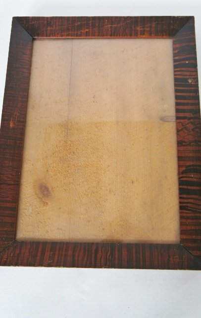 Red and black paint decorated frame, orginal backboard 1830's