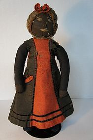 "16"" antique black cloth dollwith embroidered face rag stuffed"