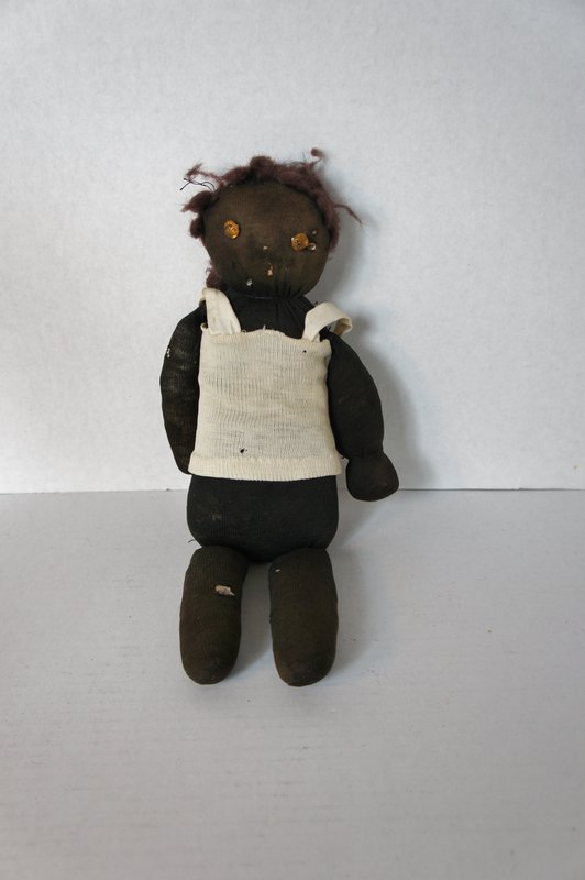 Nice old black sock doll with amber glass button eyes rags stuffed