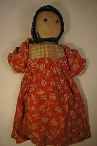Shoe button eyes cloth doll red calico dress blue bonnet early