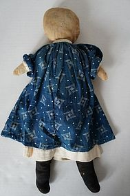 "Pencil face linen antique rag doll blue calico dress 15""  c.1890"