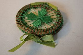 Sweet grass needle case good luck 4 leaf clover