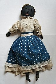 Antique black cloth doll shoe button eyes circa 1880