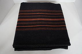 Antique homespun black and bittersweet wool blanket 1890
