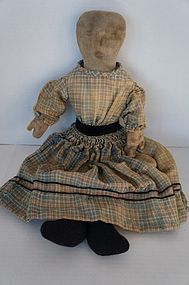 "Pencil face 20"" antique cloth doll blue plaid dress"