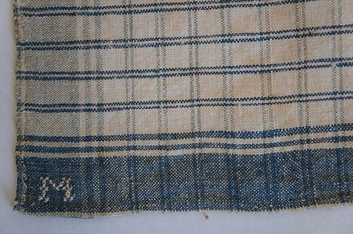 Blue and white antique homespun handkerchief ex cond. 1830