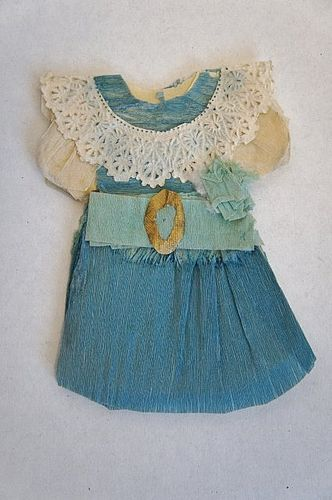 Antique  blue crepe paper doll dress  3 1/2""