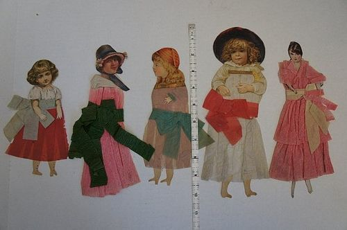 19th C. paper dolls with crepe paper dresses  10""