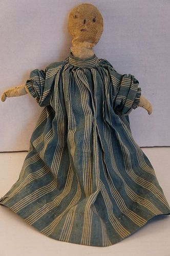 Sweet stump baby antique cloth doll blue calico dress