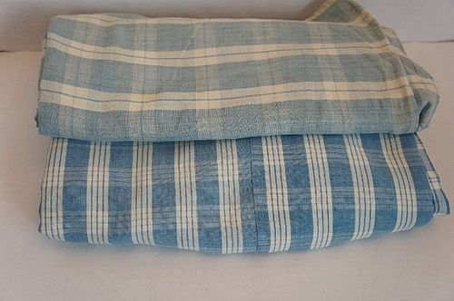Two blue and white large pieces of homespun antique 19th C