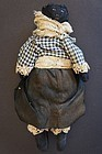 """Antique 10"""" black leather doll painted face"""