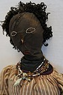 """Big Black and Wonderful cloth doll embroidered face antique 27"""""""