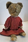 """Sweet small antique teddy bear wearing a red calico dress 12"""""""
