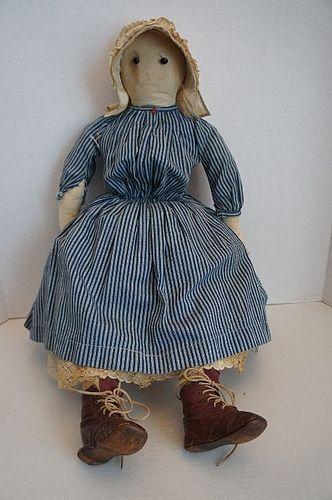 "Antique pencil face shoe button eyes cloth doll 25"""