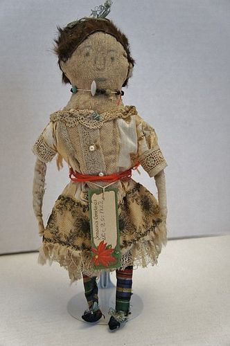 A great Merry Christmas pencil face cloth doll hand sewn