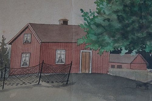 19th C. watercolor painting of a Maine cape farm house antique