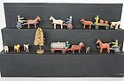 Putz antique wooden animals horses carts people tree