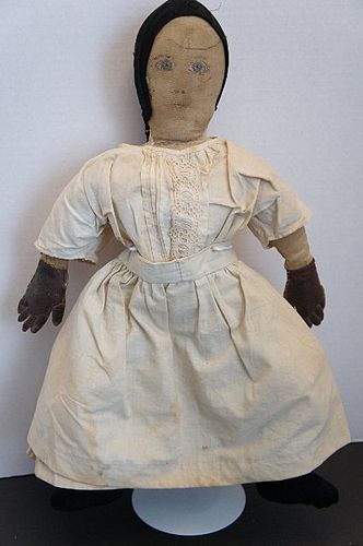 Sweet painted face antique cloth doll folky hands 21""
