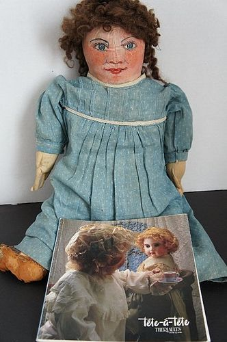"""Rosy cheeked painted face antique cloth doll blue calico dress 20"""""""