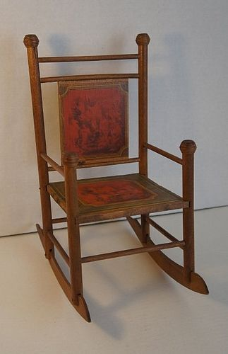 19th C. doll rocking chair lithograph back seat original antique
