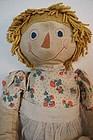 "Old sweet Raggedy Ann doll 24"" tall homemade"