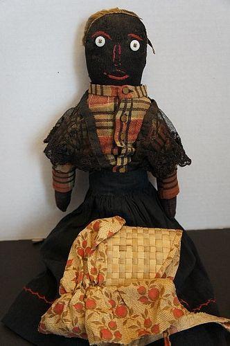 19th C. Black cloth doll with original clothes antique