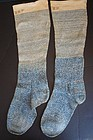 Very beautiful early 1800's blue knit stockings with initials