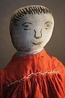 Embroidered face red dress antique cloth doll