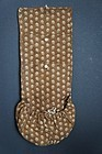Antique brown calico sewing roll and pocket 1830's