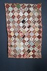Antique doll quilt hand sewn early calico fabric