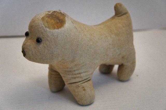 Amish type antique cloth toy dog straw stuffed glass eyes