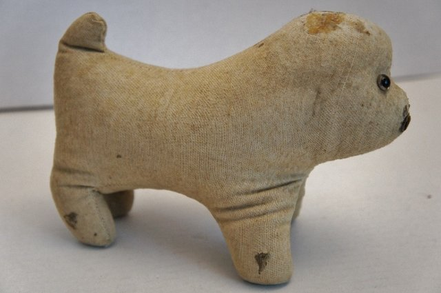 Amish type antique cloth toy dog straw stuffed glass eyes