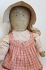 "24"" embroidered face antique cloth doll circa 1880"