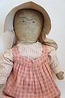 "24"" embroidered face antique cloth doll circa 1880"