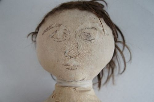 "Antique ink drawn face cloth doll 28"" tall circa 1870"