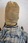 Old pencil face rag doll with mitten hands hand sewn dress