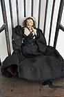 Small nut doll Civil War Era with black dress, early petticoat antique