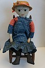 "19"" embroidered face cloth doll blue calico dress antique early"