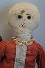 Simple country antique rag doll with ink drawn face