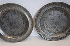 "Pair of 8 1/4"" antique pewter places out of a NH house  1820"