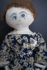 "Antique painted face cloth doll great dress and hair 22""  C.1880"