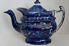 Deep blue antique Staffordshire teapot no repair