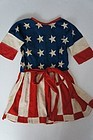 Early antique child's patriotic flag dress 22' long
