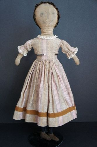 Antique cloth doll with ink drawn features velvet cap 18""