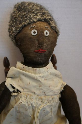 19th C. antique black stockinette doll raised nose button eyes 24""