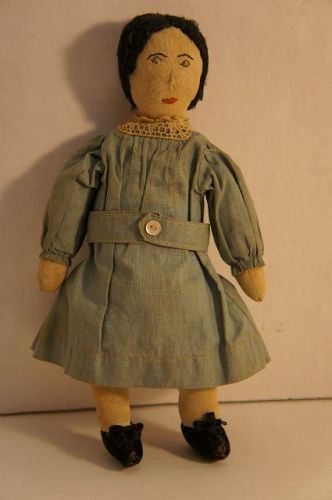 "As cute as a button, embroidered face cloth doll all orig. 11"" antique"