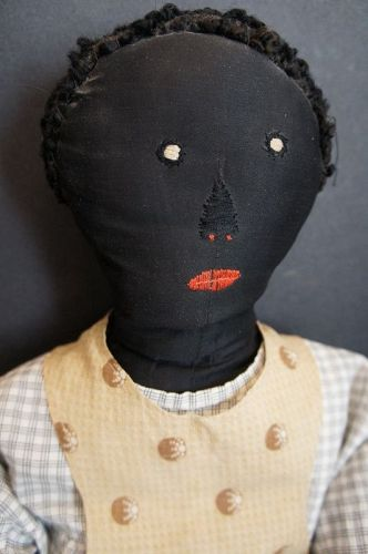 Early Black cloth doll embroidered face great body as found 23""