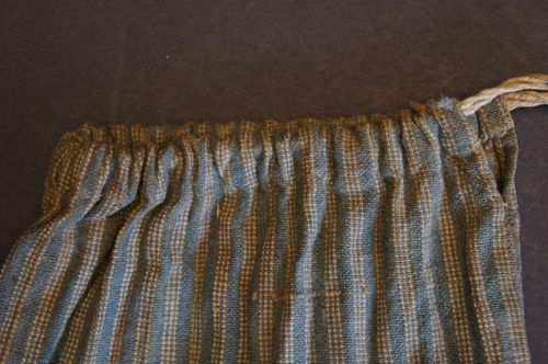 Early 1800's seed or ditty bag blue homespun ticking